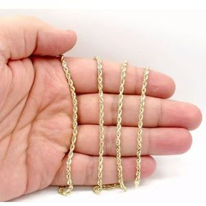Real Solid Gold Rope Chain 3MM 22 Inch Brand New